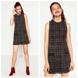 Zara Basic Sleeveless Tweed Shift Mini Dress